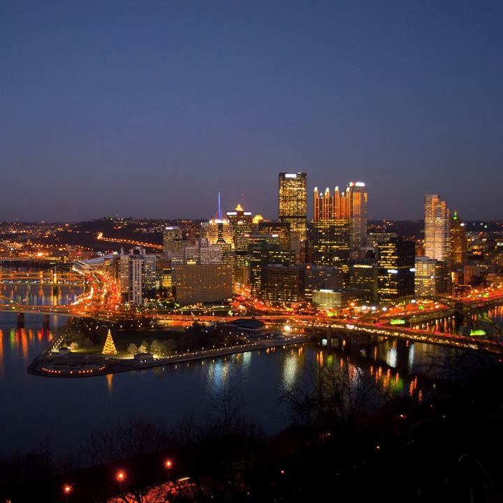 Pittsburgh city view at night