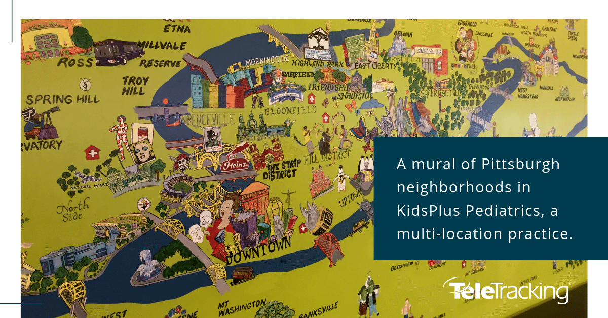 A mural of Pittsburgh neighborhoods in KidsPlus Pediatrics, a multi-location practice.